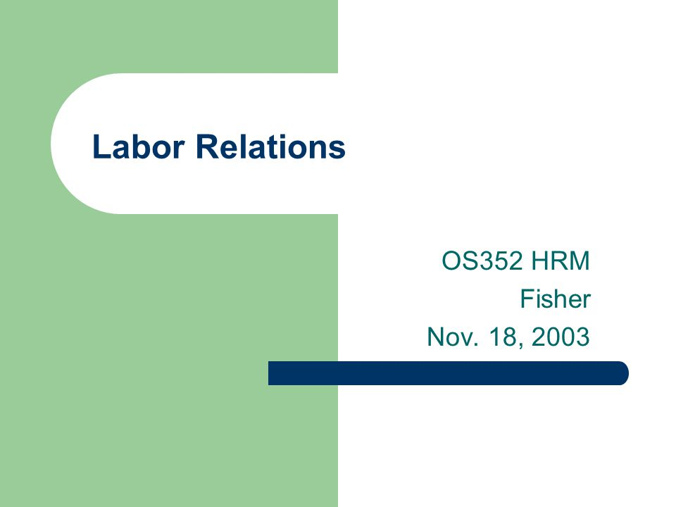 Labor Relations OS352 HRM Fisher Nov. 18, 2003