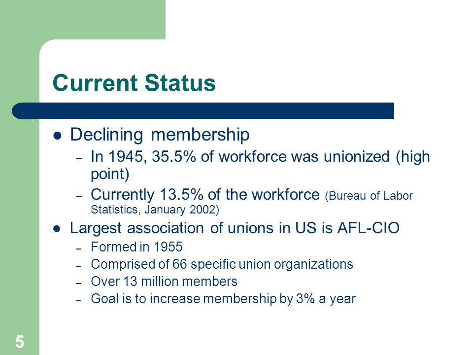 5 Current Status Declining membership – In 1945, 35.5% of workforce was unionized (high point) – Currently 13.5% of the workforce (Bureau of Labor Statistics, January 2002) Largest association of unions in US is AFL-CIO – Formed in 1955 – Comprised of 66 specific union organizations – Over 13 million members – Goal is to increase membership by 3% a year