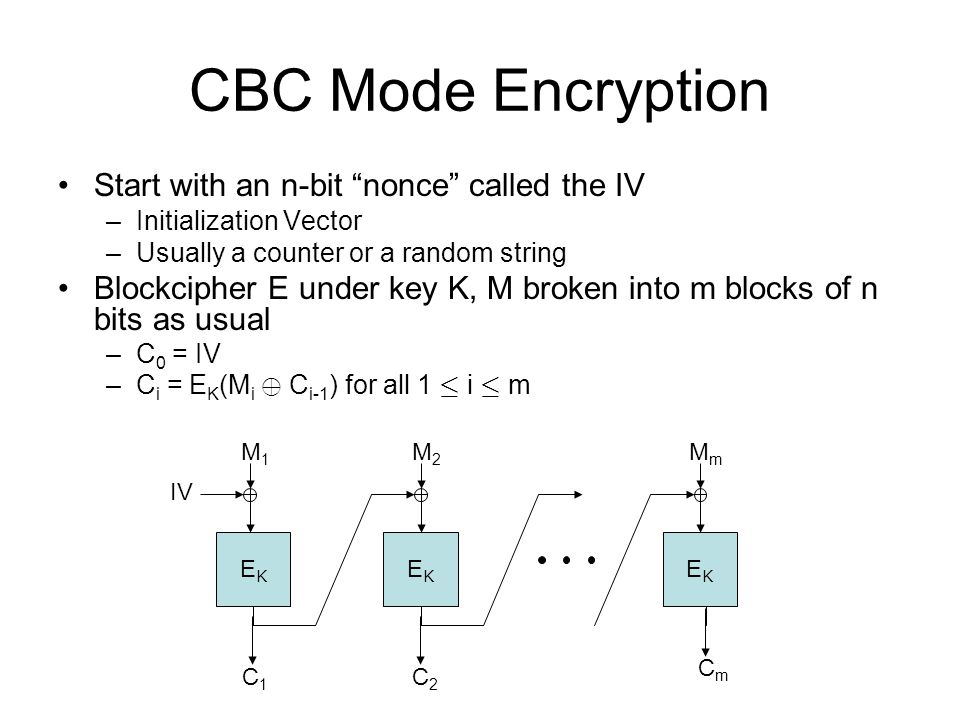 CBC Mode Encryption Start with an n-bit nonce called the IV –Initialization Vector –Usually a counter or a random string Blockcipher E under key K, M broken into m blocks of n bits as usual –C 0 = IV –C i = E K (M i © C i-1 ) for all 1 · i · m EKEK EKEK EKEK M2M2 MmMm M1M1 IV C1C1 C2C2 CmCm