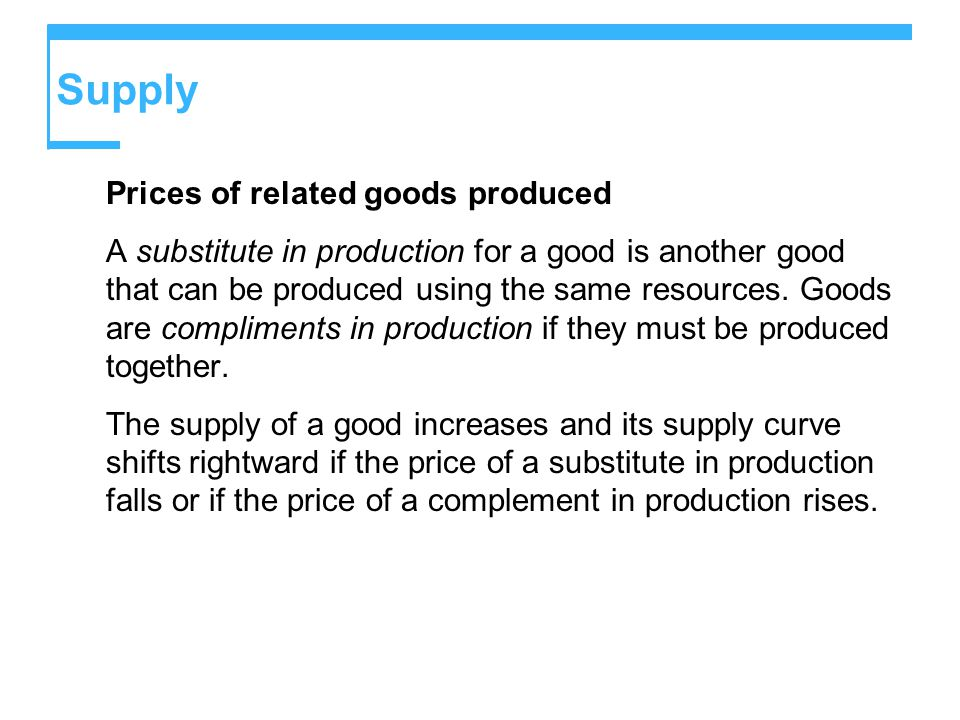 Supply Prices of related goods produced A substitute in production for a good is another good that can be produced using the same resources.
