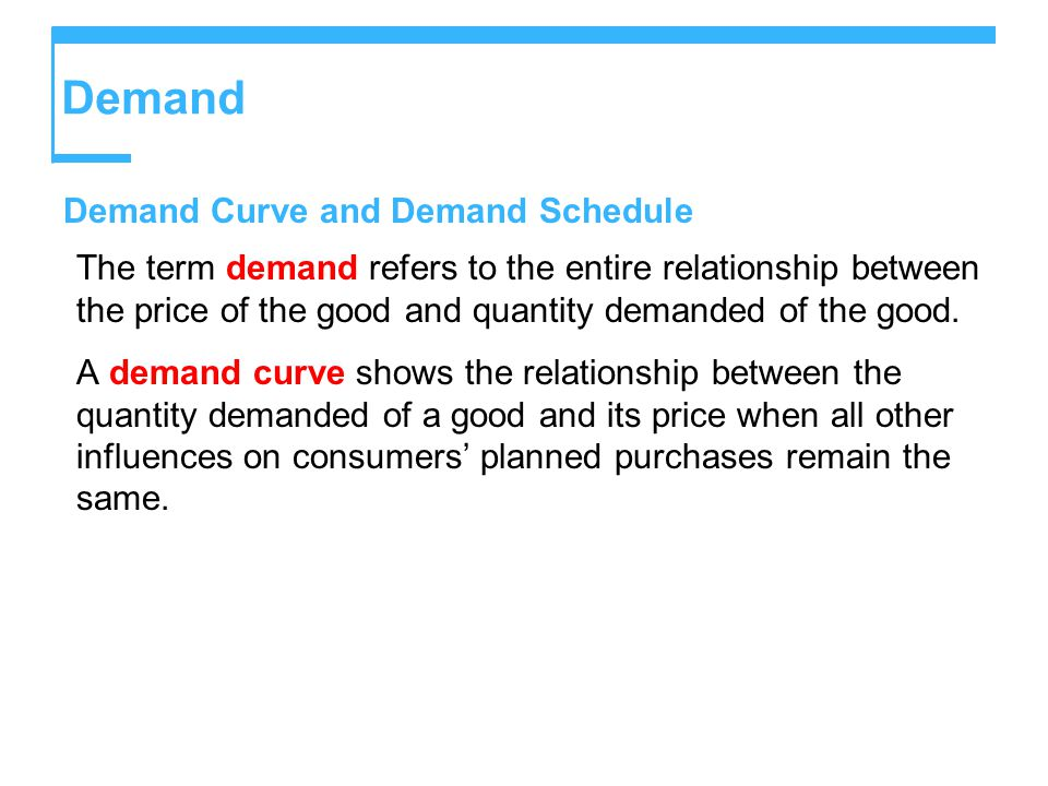 Demand Demand Curve and Demand Schedule The term demand refers to the entire relationship between the price of the good and quantity demanded of the good.