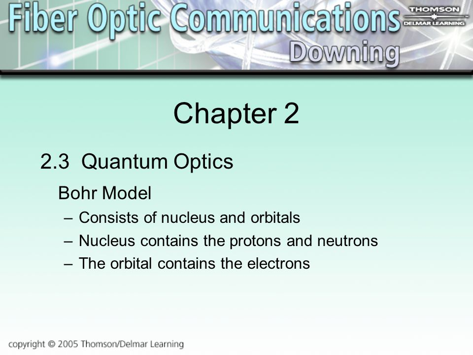Chapter Quantum Optics Bohr Model –Consists of nucleus and orbitals –Nucleus contains the protons and neutrons –The orbital contains the electrons