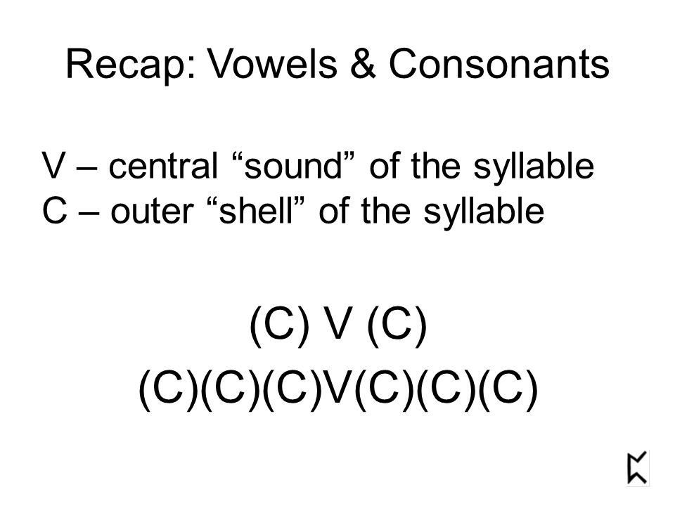 Recap: Vowels & Consonants V – central sound of the syllable C – outer shell of the syllable (C) V (C) (C)(C)(C)V(C)(C)(C)