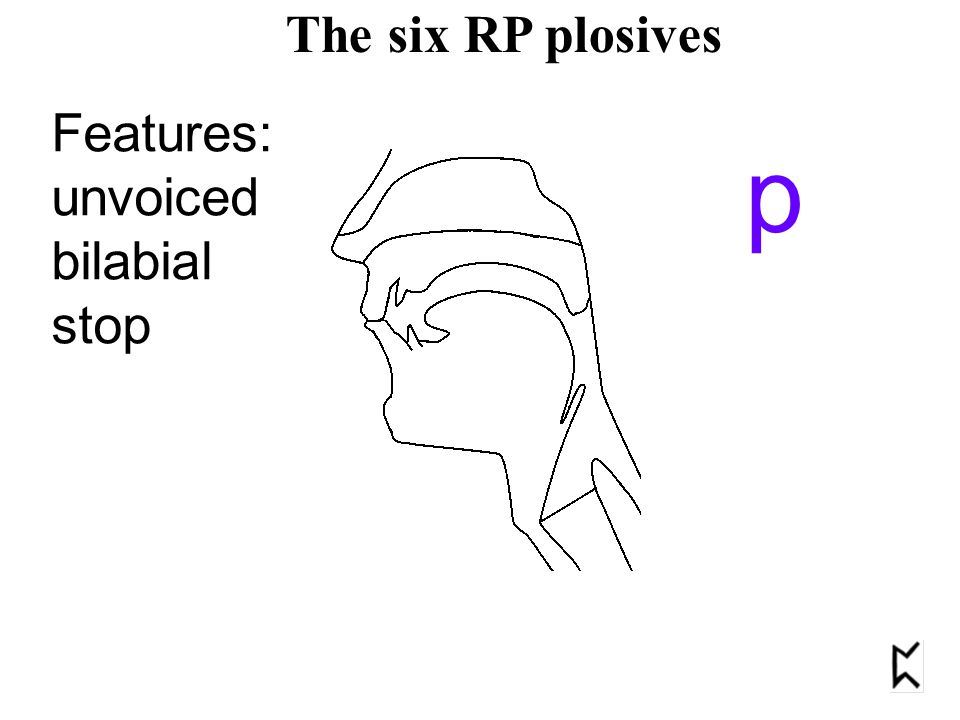 Features: unvoiced bilabial stop p The six RP plosives