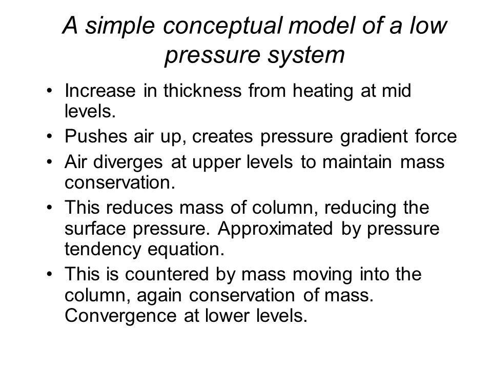Increase in thickness from heating at mid levels.