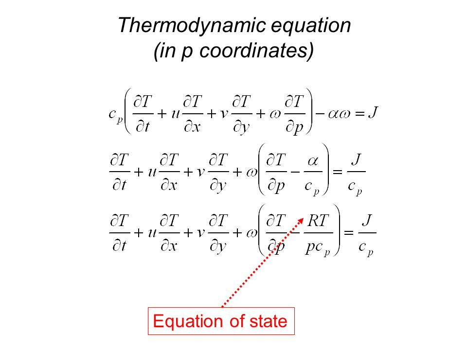 Thermodynamic equation (in p coordinates) Equation of state