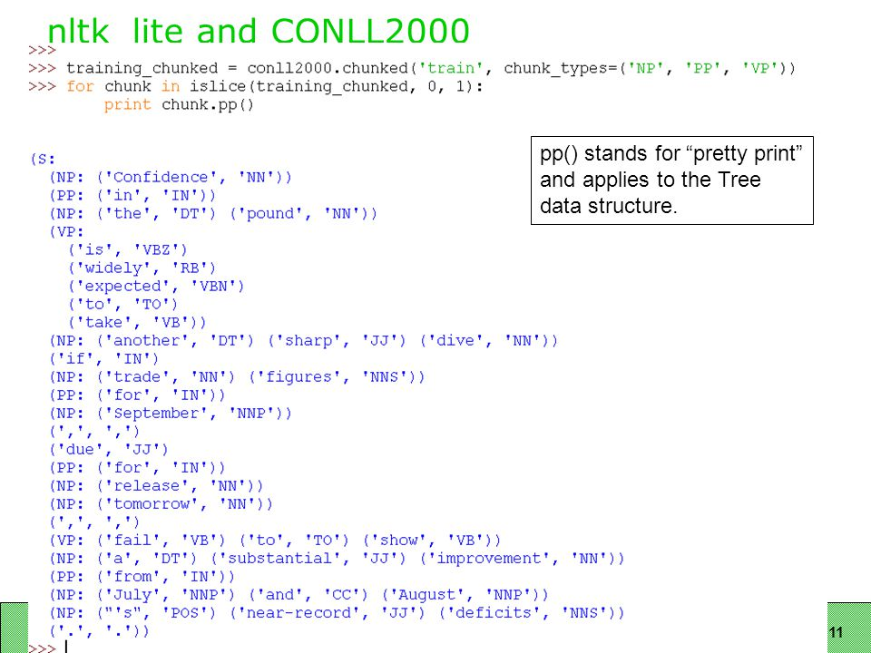11 nltk_lite and CONLL2000 pp() stands for pretty print and applies to the Tree data structure.