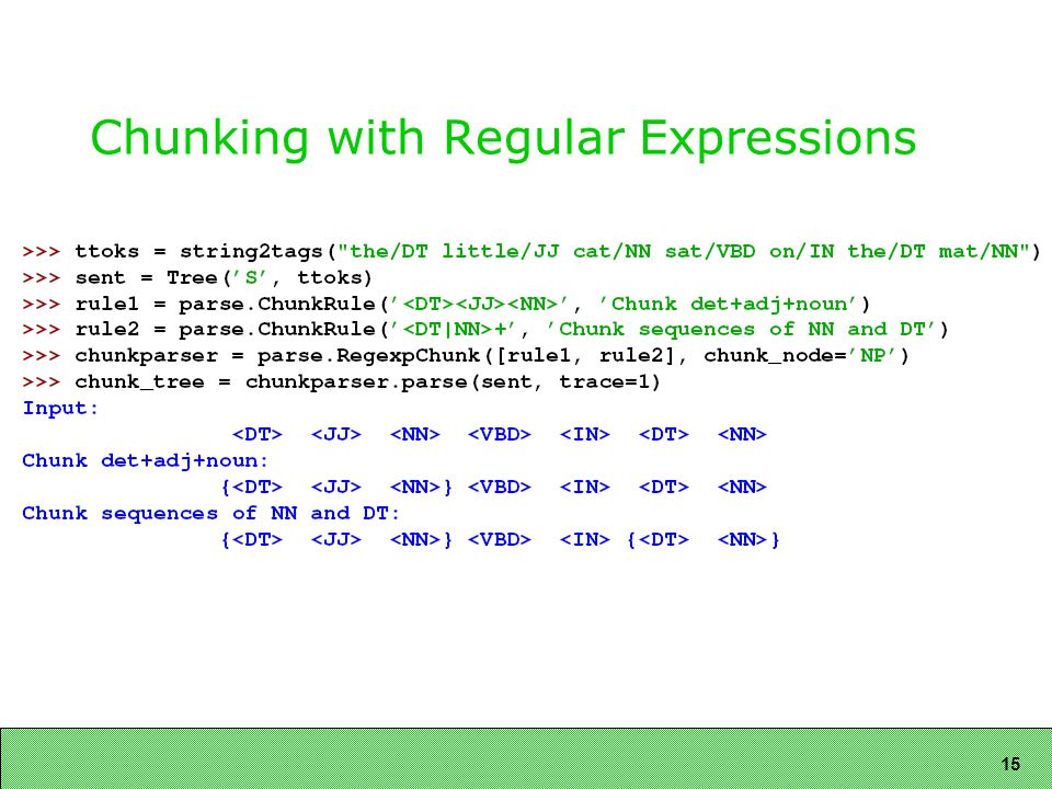 15 Chunking with Regular Expressions