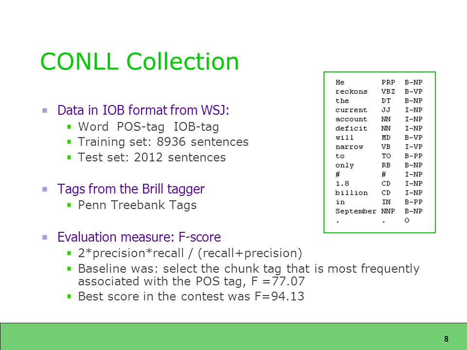 8 CONLL Collection Data in IOB format from WSJ: Word POS-tag IOB-tag Training set: 8936 sentences Test set: 2012 sentences Tags from the Brill tagger Penn Treebank Tags Evaluation measure: F-score 2*precision*recall / (recall+precision) Baseline was: select the chunk tag that is most frequently associated with the POS tag, F =77.07 Best score in the contest was F=94.13