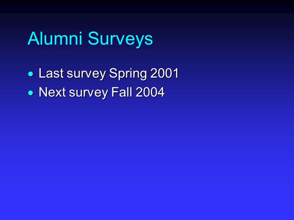 Alumni Surveys  Last survey Spring 2001  Next survey Fall 2004