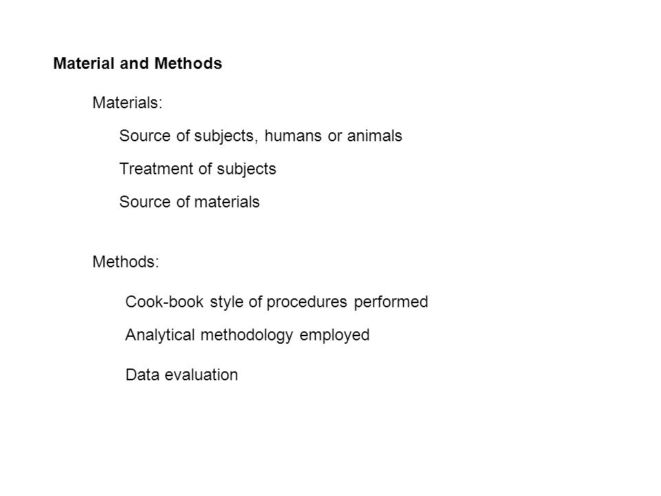 Methods and materials in a paper?