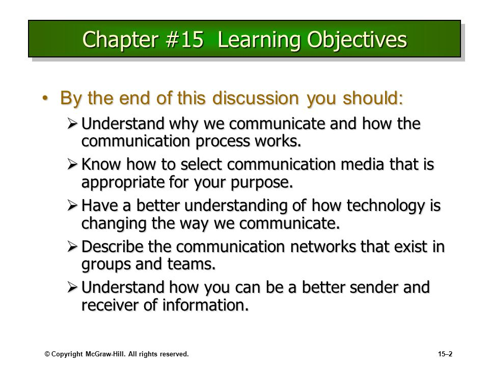 learning objectives chapter 15