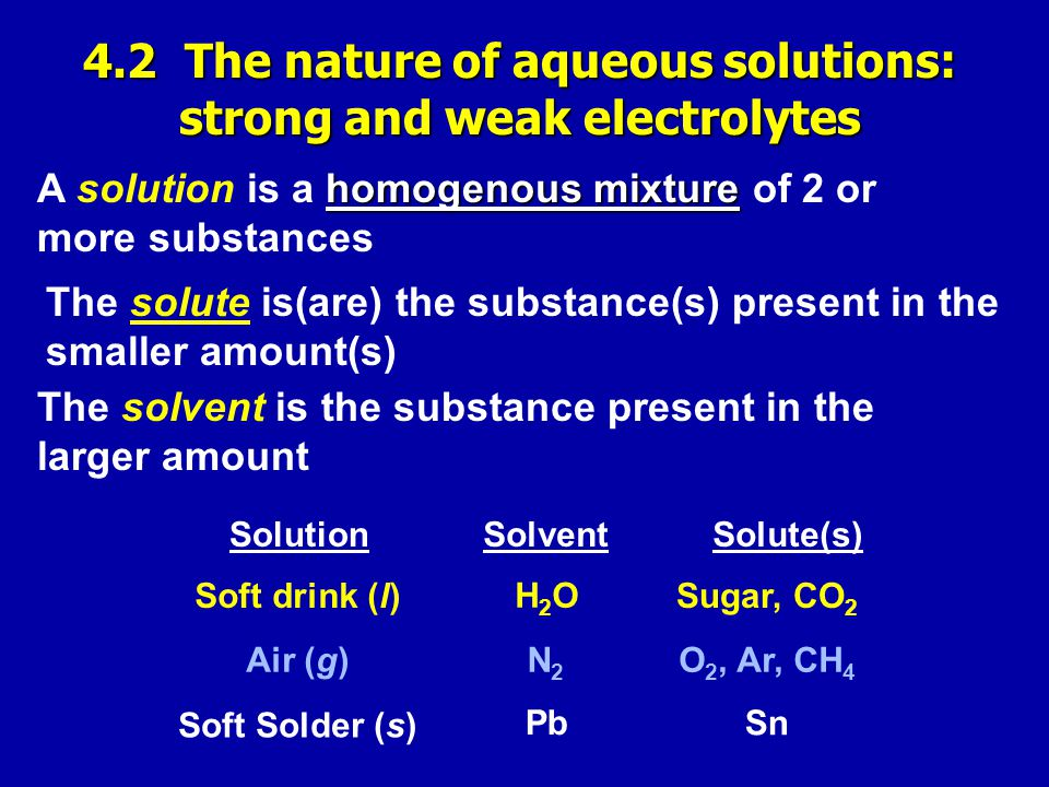 homogenous mixture A solution is a homogenous mixture of 2 or more substances The solute is(are) the substance(s) present in the smaller amount(s) The solvent is the substance present in the larger amount SolutionSolventSolute(s) Soft drink (l) Air (g) Soft Solder (s) H2OH2O N2N2 Pb Sugar, CO 2 O 2, Ar, CH 4 Sn 4.2 The nature of aqueous solutions: strong and weak electrolytes