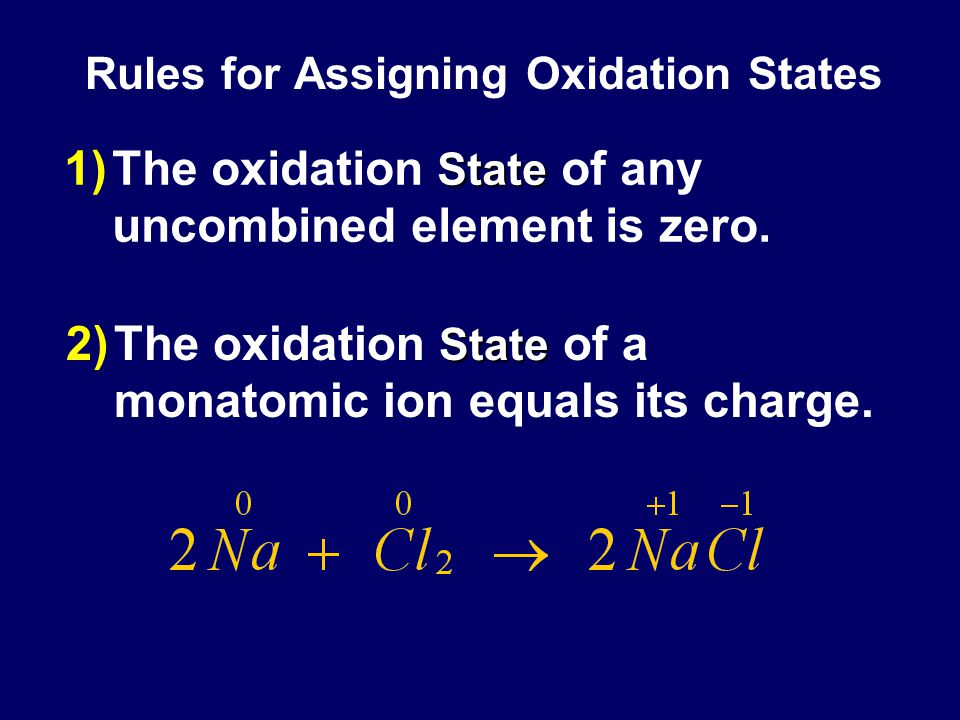 Rules for Assigning Oxidation States State 1)The oxidation State of any uncombined element is zero.
