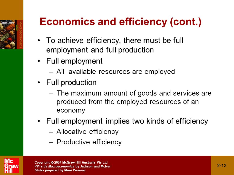 Copyright  2007 McGraw-Hill Australia Pty Ltd PPTs t/a Macroeconomics by Jackson and McIver Slides prepared by Muni Perumal 2-13 Economics and efficiency (cont.) To achieve efficiency, there must be full employment and full production Full employment –All available resources are employed Full production –The maximum amount of goods and services are produced from the employed resources of an economy Full employment implies two kinds of efficiency –Allocative efficiency –Productive efficiency