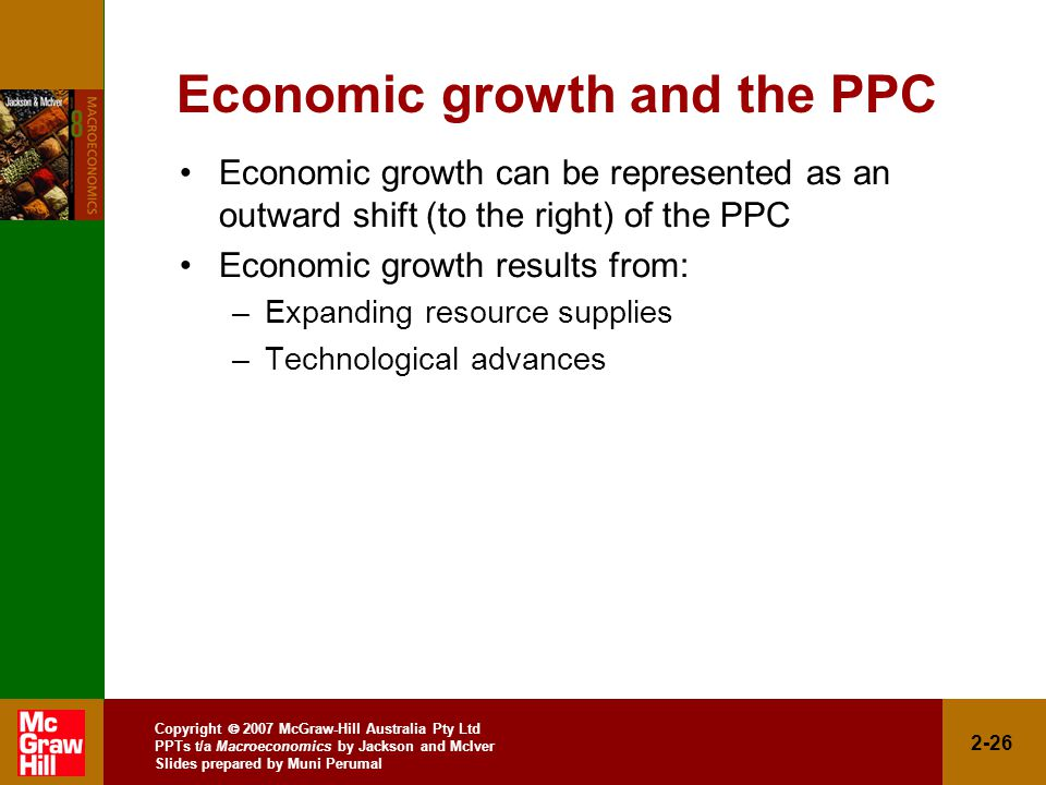 Copyright  2007 McGraw-Hill Australia Pty Ltd PPTs t/a Macroeconomics by Jackson and McIver Slides prepared by Muni Perumal 2-26 Economic growth and the PPC Economic growth can be represented as an outward shift (to the right) of the PPC Economic growth results from: –Expanding resource supplies –Technological advances