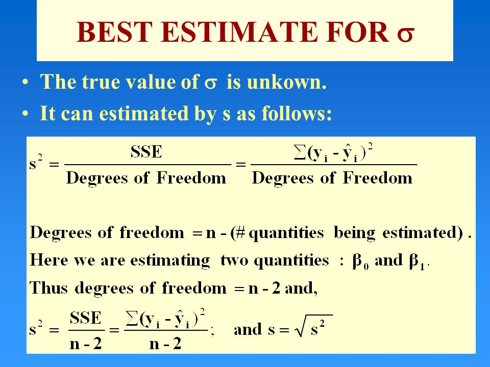 BEST ESTIMATE FOR  The true value of  is unkown. It can estimated by s as follows: