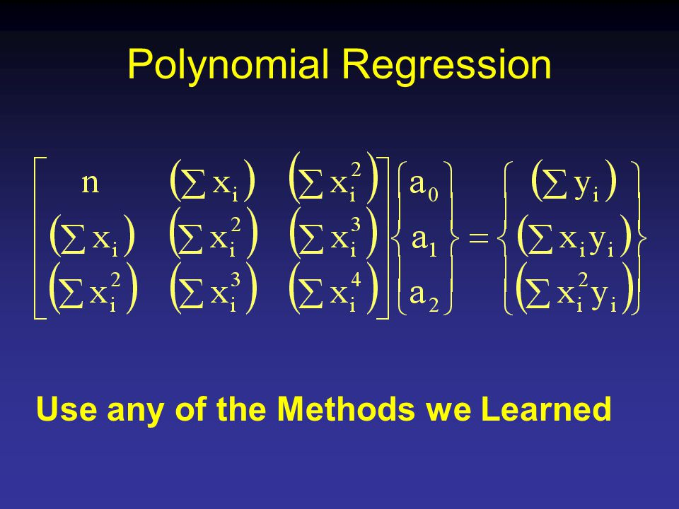 Polynomial Regression Use any of the Methods we Learned