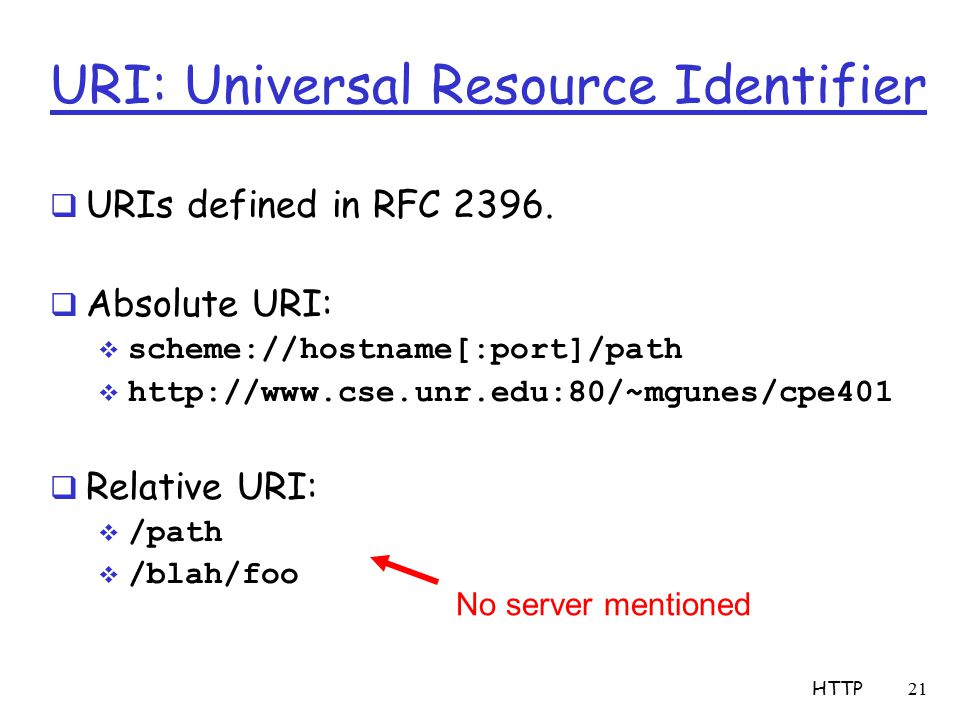 URI: Universal Resource Identifier  URIs defined in RFC 2396.