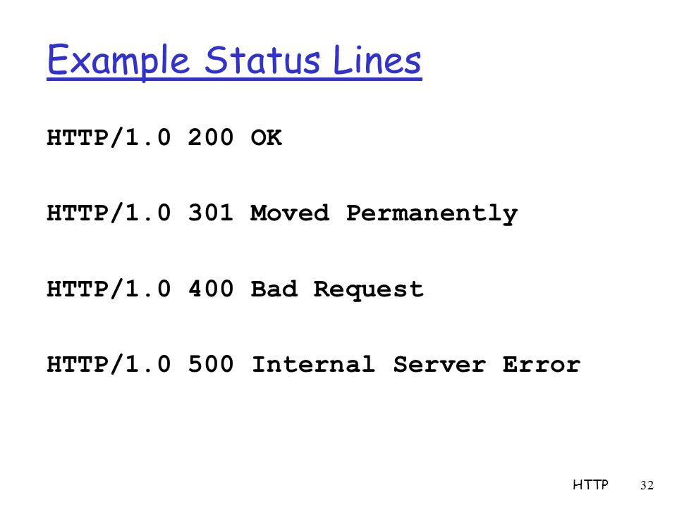 Example Status Lines HTTP/ OK HTTP/ Moved Permanently HTTP/ Bad Request HTTP/ Internal Server Error HTTP 32