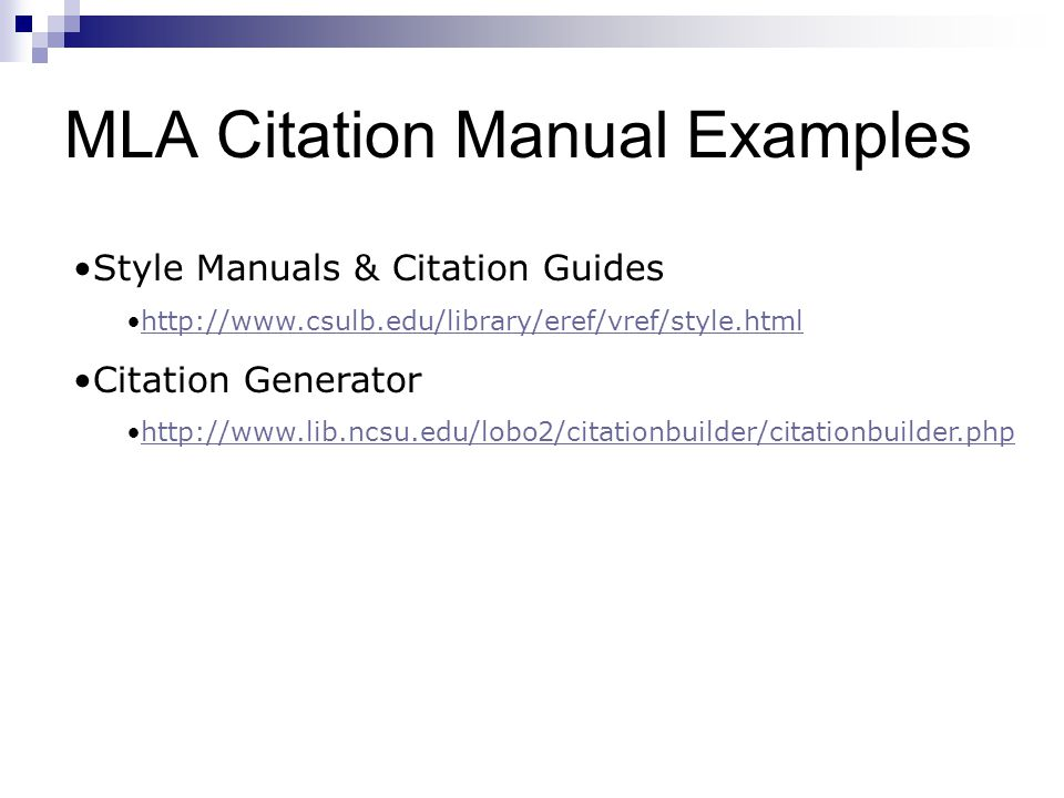 MLA Citation Manual Examples Style Manuals & Citation Guides   Citation Generator
