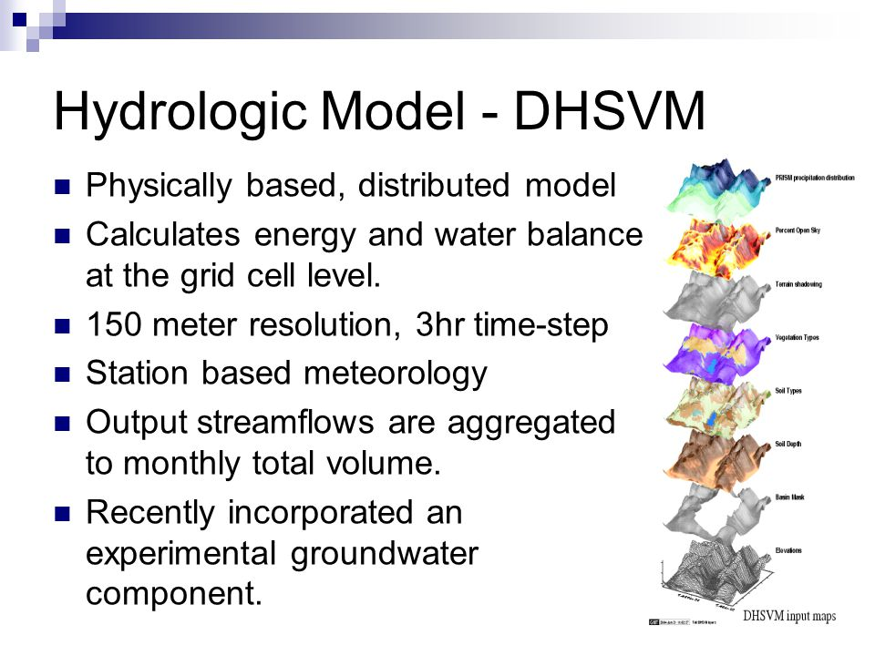 Hydrologic Model - DHSVM Physically based, distributed model Calculates energy and water balance at the grid cell level.