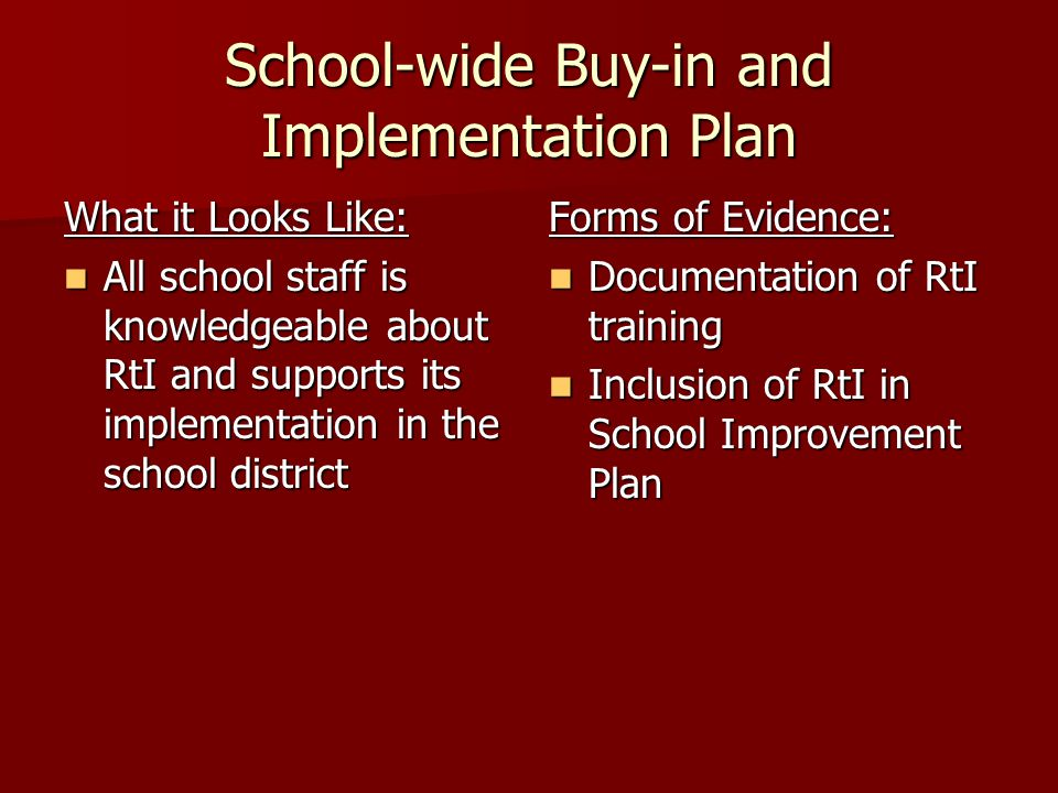 School-wide Buy-in and Implementation Plan What it Looks Like: All school staff is knowledgeable about RtI and supports its implementation in the school district All school staff is knowledgeable about RtI and supports its implementation in the school district Forms of Evidence: Documentation of RtI training Documentation of RtI training Inclusion of RtI in School Improvement Plan Inclusion of RtI in School Improvement Plan