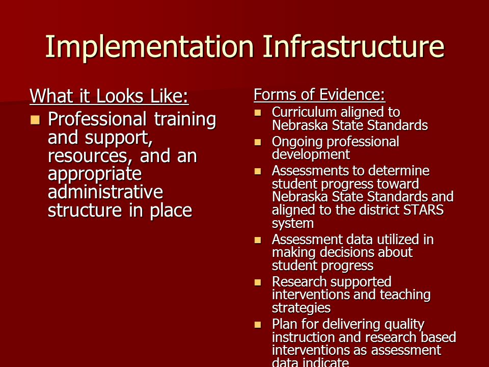 Implementation Infrastructure What it Looks Like: Professional training and support, resources, and an appropriate administrative structure in place Professional training and support, resources, and an appropriate administrative structure in place Forms of Evidence: Curriculum aligned to Nebraska State Standards Curriculum aligned to Nebraska State Standards Ongoing professional development Ongoing professional development Assessments to determine student progress toward Nebraska State Standards and aligned to the district STARS system Assessments to determine student progress toward Nebraska State Standards and aligned to the district STARS system Assessment data utilized in making decisions about student progress Assessment data utilized in making decisions about student progress Research supported interventions and teaching strategies Research supported interventions and teaching strategies Plan for delivering quality instruction and research based interventions as assessment data indicate Plan for delivering quality instruction and research based interventions as assessment data indicate