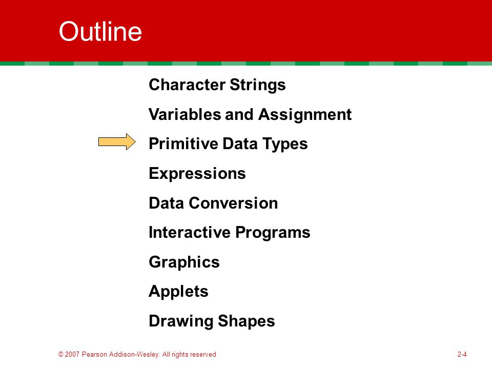 2-4 Outline Character Strings Variables and Assignment Primitive Data Types Expressions Data Conversion Interactive Programs Graphics Applets Drawing Shapes