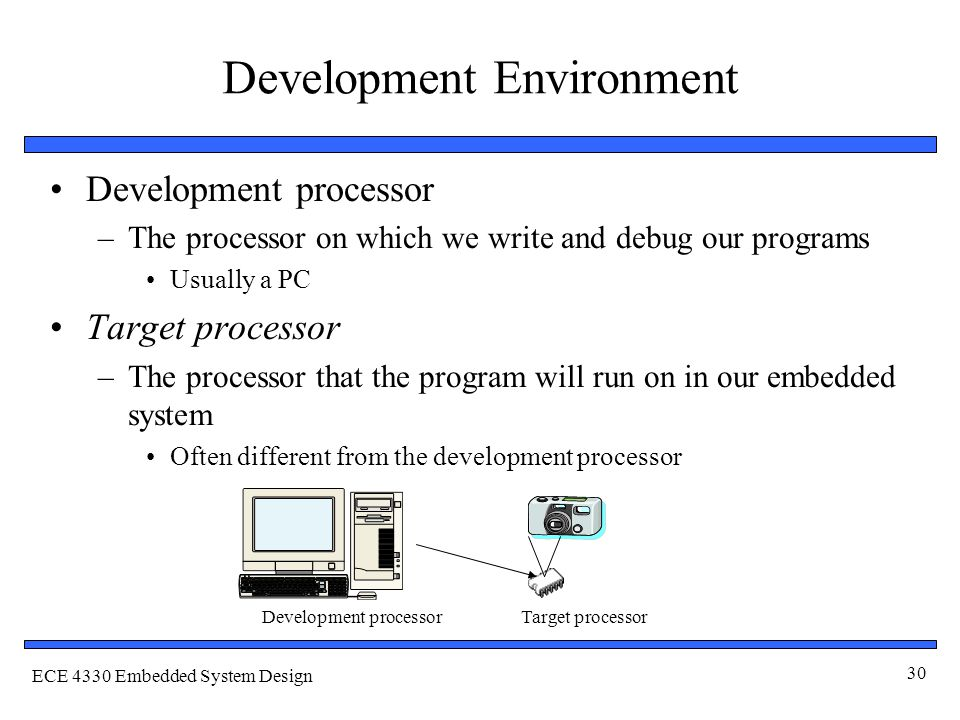 ECE 4330 Embedded System Design 30 Development Environment Development processor –The processor on which we write and debug our programs Usually a PC Target processor –The processor that the program will run on in our embedded system Often different from the development processor Development processorTarget processor