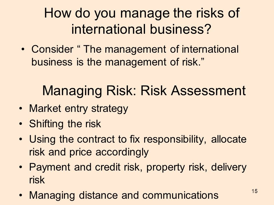 15 How do you manage the risks of international business.