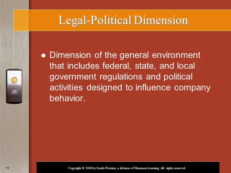 Copyright © 2008 by South-Western, a division of Thomson Learning. All rights reserved. 11 Legal-Political Dimension Dimension of the general environm
