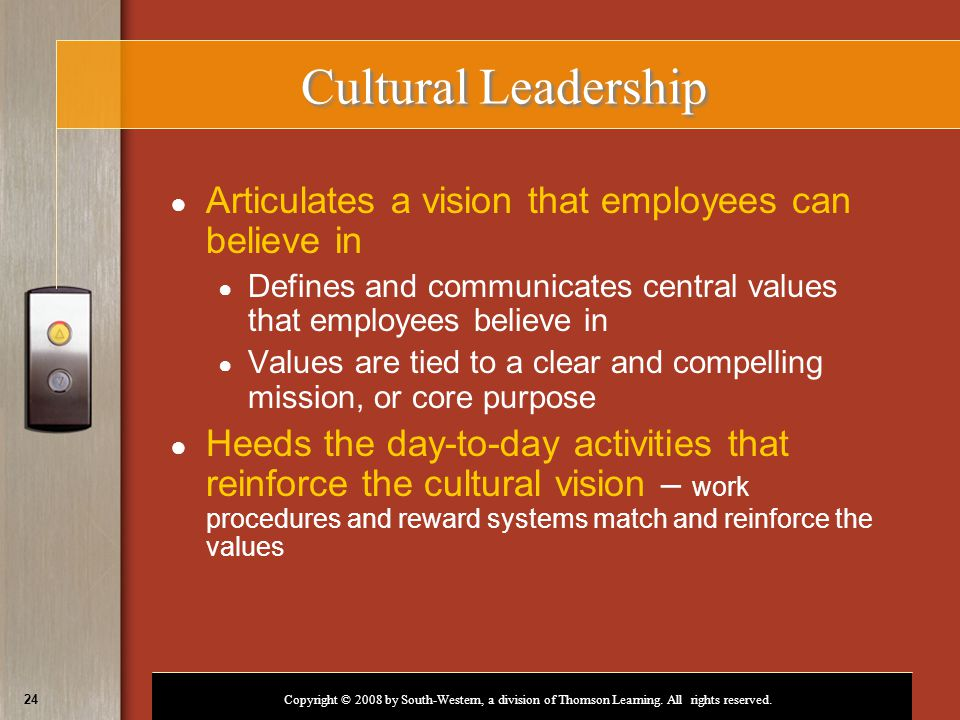 Copyright © 2008 by South-Western, a division of Thomson Learning. All rights reserved. 24 Cultural Leadership ● Articulates a vision that employees c