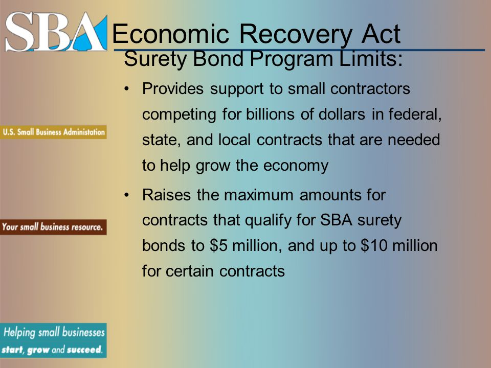 Economic Recovery Act Surety Bond Program Limits: Provides support to small contractors competing for billions of dollars in federal, state, and local contracts that are needed to help grow the economy Raises the maximum amounts for contracts that qualify for SBA surety bonds to $5 million, and up to $10 million for certain contracts