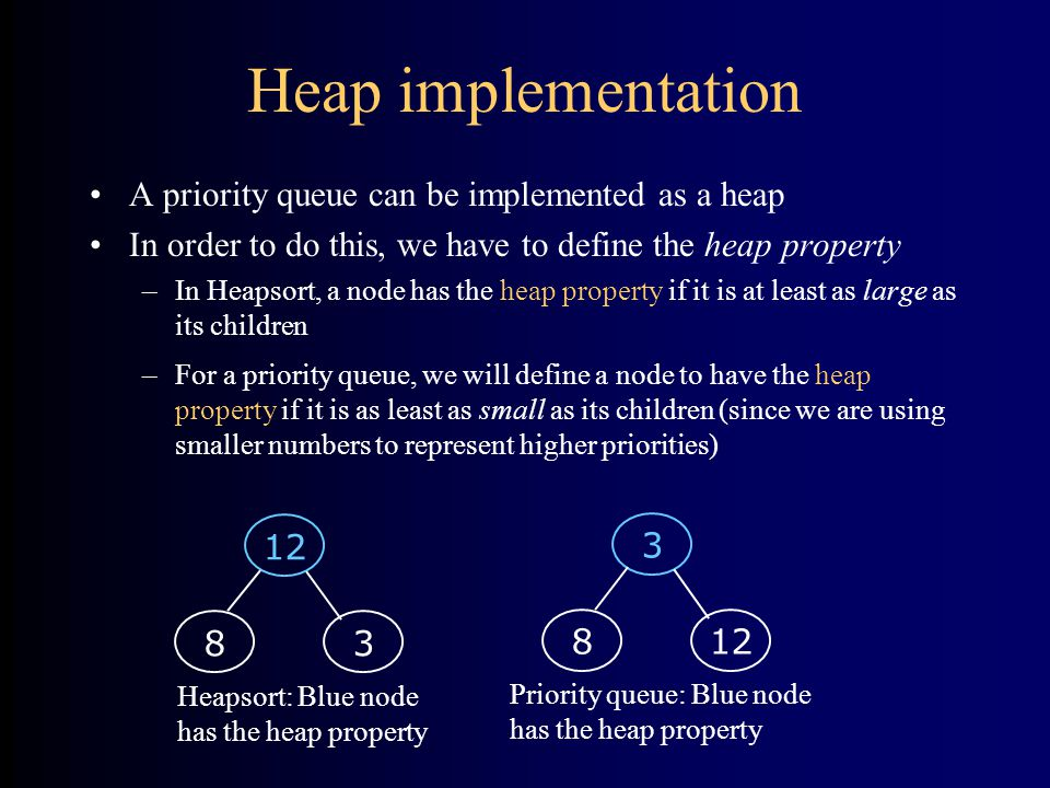 Heap implementation A priority queue can be implemented as a heap In order to do this, we have to define the heap property –In Heapsort, a node has the heap property if it is at least as large as its children –For a priority queue, we will define a node to have the heap property if it is as least as small as its children (since we are using smaller numbers to represent higher priorities) Heapsort: Blue node has the heap property Priority queue: Blue node has the heap property