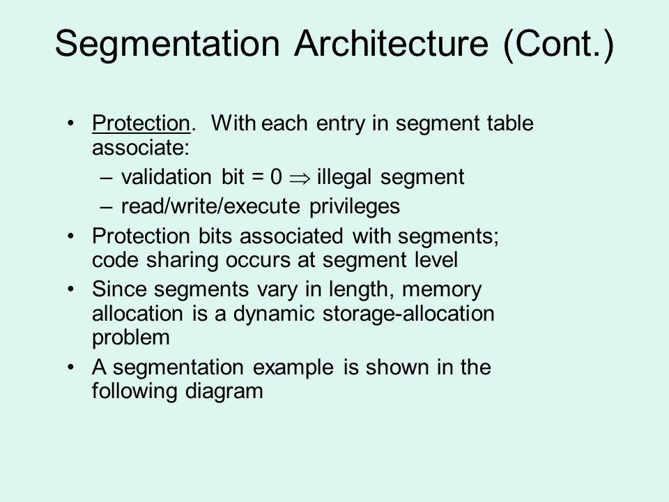 Segmentation Architecture (Cont.) Protection.