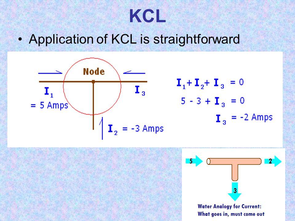 KCL Application of KCL is straightforward