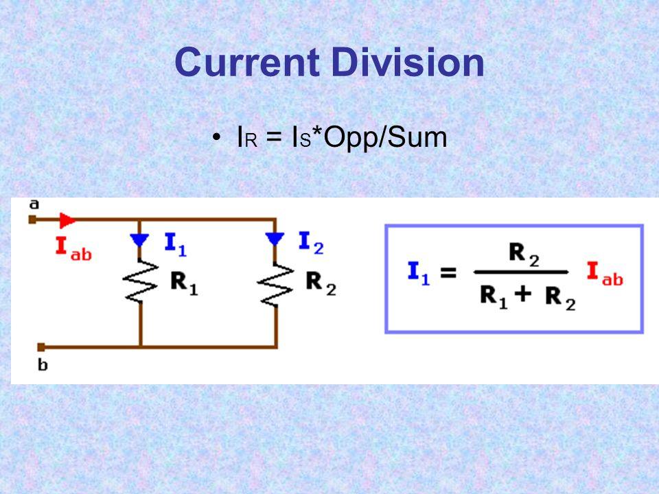Current Division I R = I S *Opp/Sum