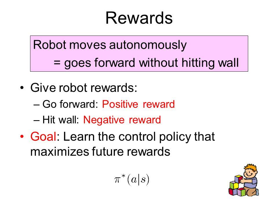 Rewards Give robot rewards: –Go forward: Positive reward –Hit wall: Negative reward Goal: Learn the control policy that maximizes future rewards Robot moves autonomously = goes forward without hitting wall