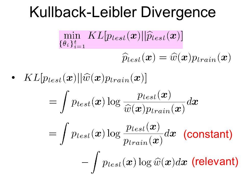 Kullback-Leibler Divergence (constant) (relevant)