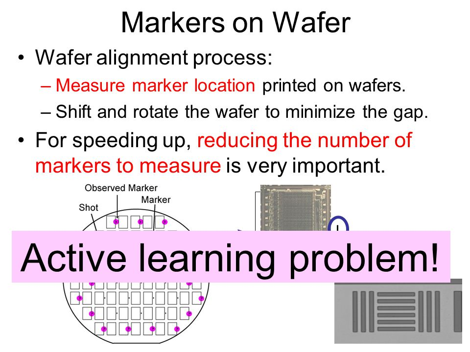Markers on Wafer Wafer alignment process: –Measure marker location printed on wafers.