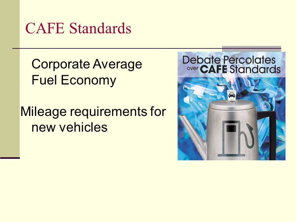 CAFE Standards Corporate Average Fuel Economy Mileage requirements for new vehicles
