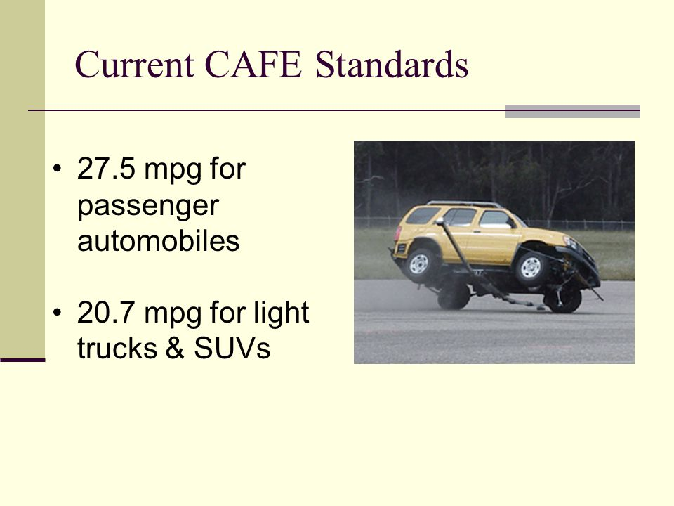 Current CAFE Standards 27.5 mpg for passenger automobiles 20.7 mpg for light trucks & SUVs