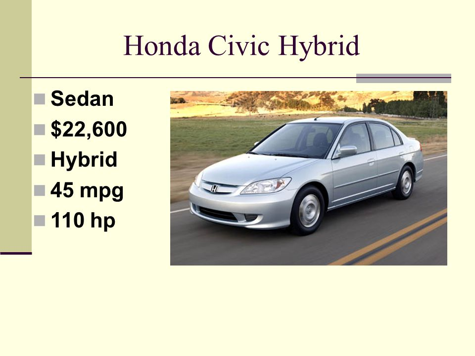 Honda Civic Hybrid Sedan $22,600 Hybrid 45 mpg 110 hp