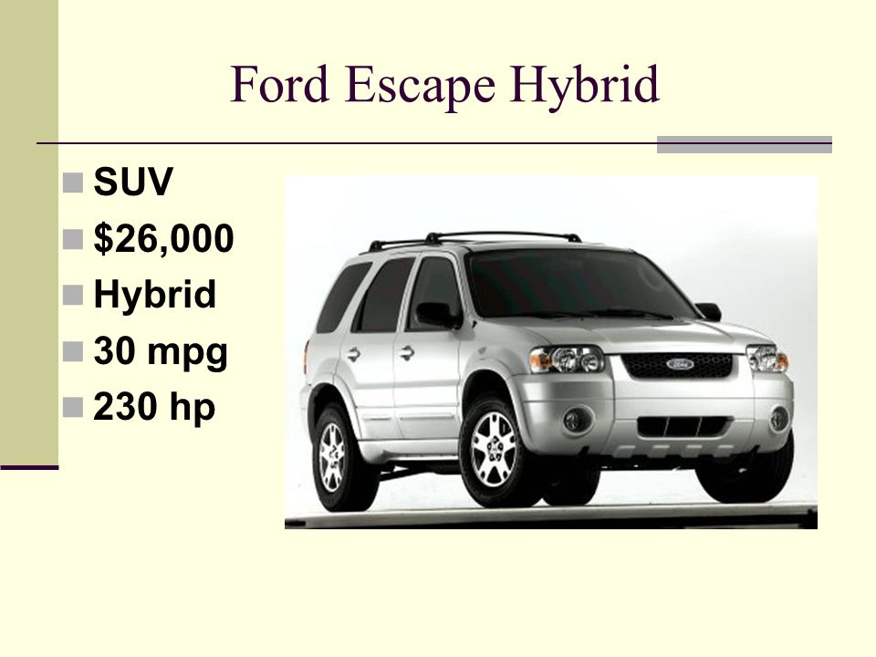 Ford Escape Hybrid SUV $26,000 Hybrid 30 mpg 230 hp