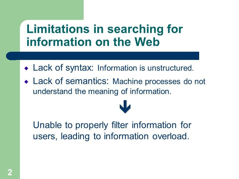 2 Limitations in searching for information on the Web Lack of syntax: Information is unstructured.