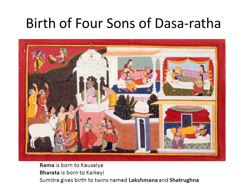 Birth of Four Sons of Dasa-ratha Rama is born to Kausalya Bharata is born to Kaikeyi Sumitra gives birth to twins named Lakshmana and Shatrughna