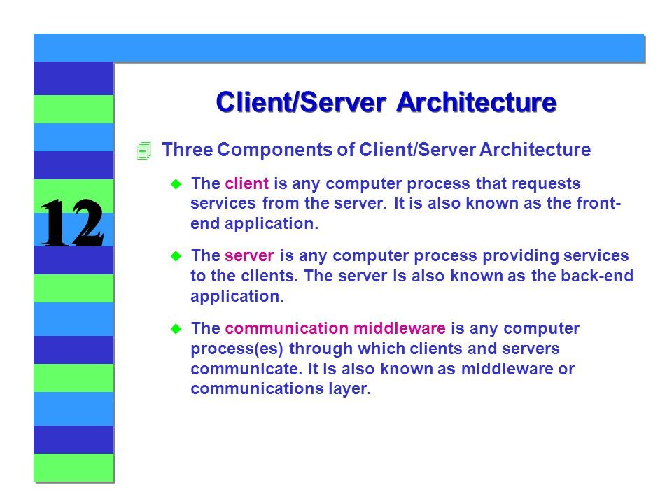 12 Client/Server Architecture 4Three Components of Client/Server Architecture u The client is any computer process that requests services from the server.