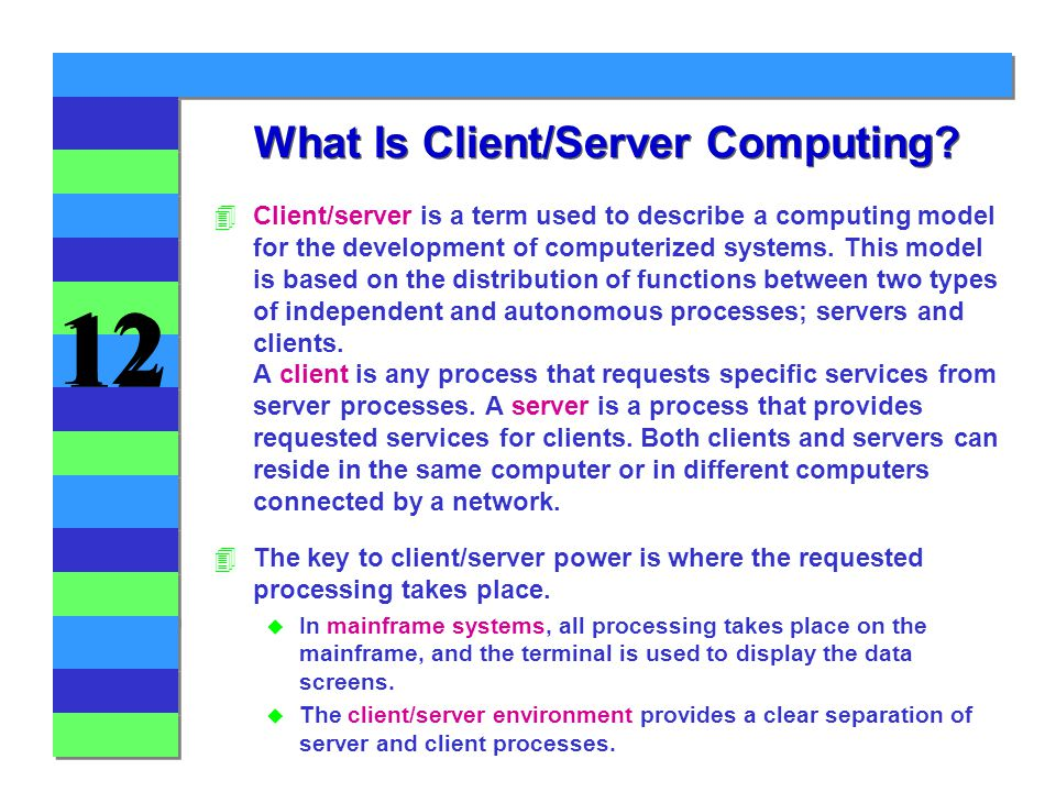 12 What Is Client/Server Computing.