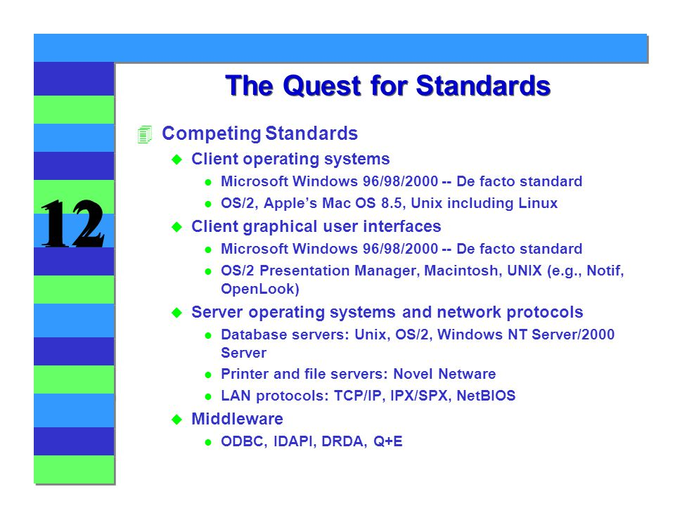 12 The Quest for Standards 4Competing Standards u Client operating systems l Microsoft Windows 96/98/ De facto standard l OS/2, Apple's Mac OS 8.5, Unix including Linux u Client graphical user interfaces l Microsoft Windows 96/98/ De facto standard l OS/2 Presentation Manager, Macintosh, UNIX (e.g., Notif, OpenLook) u Server operating systems and network protocols l Database servers: Unix, OS/2, Windows NT Server/2000 Server l Printer and file servers: Novel Netware l LAN protocols: TCP/IP, IPX/SPX, NetBIOS u Middleware l ODBC, IDAPI, DRDA, Q+E